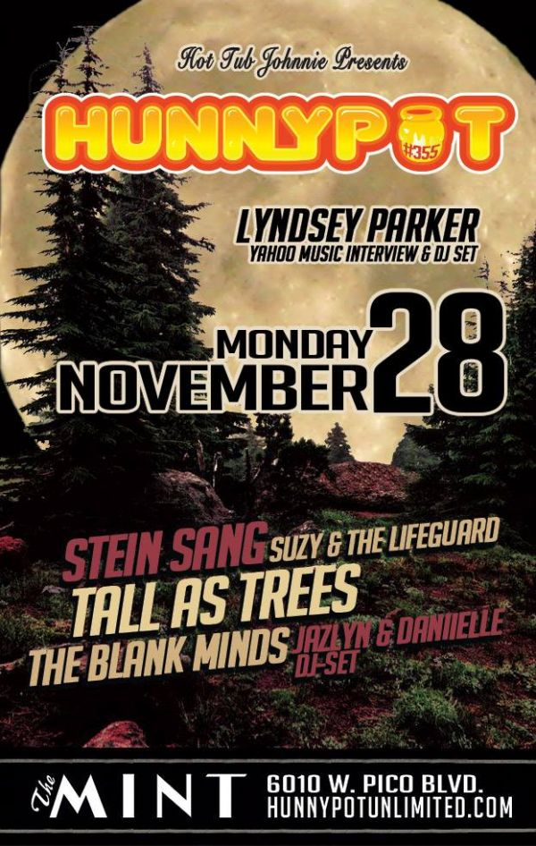 LYNDSEY PARKER (YAHOO MUSIC INTERVIEW & DJ SET) + STEIN SANG + TALL AS TREES + SUZY & THE LIFEGUARD + THE BLANK MINDS + JAZLYN & DANIIELLE (DJ SET)