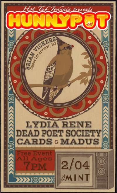 BRIAN VICKERS (WALT DISNEY STUDIOS GUEST INTERVIEW/DJ SET) + LYDIA RENE + DEAD POET SOCIETY + CARDS + MADUS