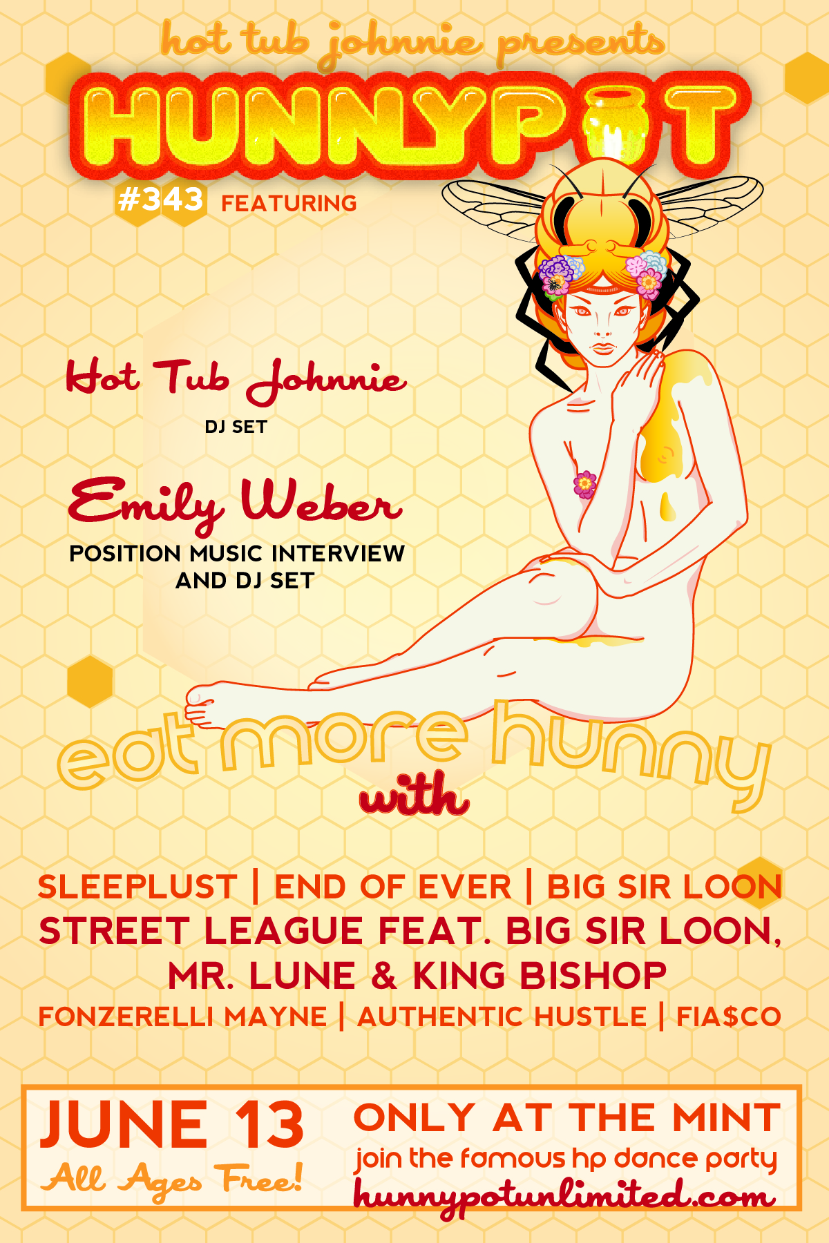 EMILY WEBER (POSITION MUSIC, INTERVIEW/DJ SET) + SLEEPLUST + END OF EVER + BIG SIR LOON + STREET LEAGUE + MR LUNE + KING BISHOP + FONZERELLI MAYNE + AUTHENTIC HUSTLE + FiA$CO